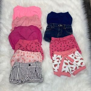 2/$25 Baby Girl 12-18M Bundle of Shorts. 10 Pieces